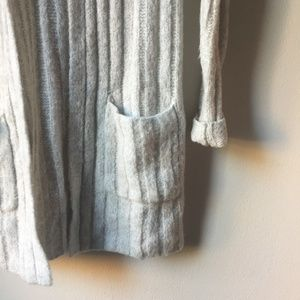 Express Sweaters - Express Open Cardigan Sweater with Hood